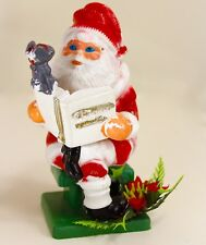 Small Blow Mold Santa Claus 8 inch Reading Christmas Stories Mouse Poinsettia