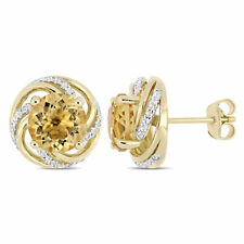 Amour  Yellow Plated Sterling Silver Citrine & White Topaz Stud Earrings