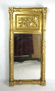 Antique 19th C Federal Period Grape Cluster Carved Gold Gilt Tabernacle Mirror