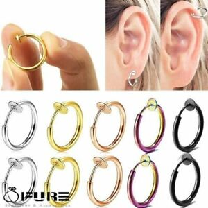 Fake Non Piercing Clip On Cartilage Labret Helix Nose Lip Gold Hoop Earrings