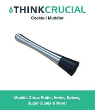 "8"" Drink Cocktail Muddler, Stainless Steel & Grooved Nylon Head"