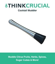 "Replacement 8"" Drink Cocktail Muddler, Stainless Steel & Grooved Nylon Head"