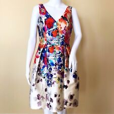 David Meister Watercolor Cocktail Dress Floral Size 4 A-line NWT Sleeveless New