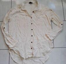 H&M Bluse Gr. XS 34 36 weiß beige Longbluse Shirt Oberteil Longshirt modern