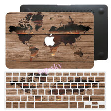 Wood Painted Hard Rubberized Case Keyboard Cover For Macbook Pro Air 11 12 13 15