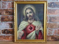 More details for vintage framed sacred heart of jesus print
