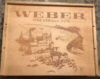 "Weber Fine German Wine Wood Dovetail Box 13 1/4 X 10 1/2 X 4"" Slide Top Slats"