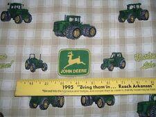 Vtg 90s Tan Plaid Nothing Runs Like John Deere Quilt Sew Fabric 36x43 Rare#ff280
