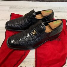 Vintage Footjoy Lizard Skin Black Leather Loafers Size 10.5 C Made in USA