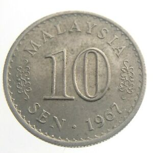 1967 Malaysia 10 Sen Circulated KM 51 Copper Nickel Coin Parliament House T358
