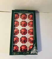 Vintage Box Of Raunch Industries Red Glass Ball Christmas Holiday Ornaments