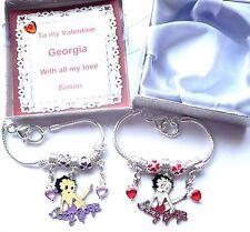 Valentine's Charm Bracelet Betty Boop Charm & Hearts Personalised Romantic Gift