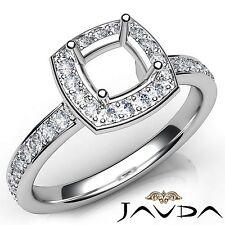 Platinum Diamond Engagement Halo Pave Set Cushion Cut Semi Mount Ring 0.45Ct