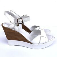 NEW Cole Haan 8.5 Air Paley High Wedge Sandal Optic White Open Toe MSRP $228