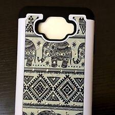 For Samsung Galaxy J7 (2015) - HYBRID DIAMOND BLING CASE COVER TRIBAL ELEPHANTS