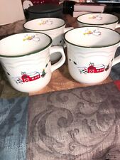 Set of 4 Pfaltzgraff Snow Village Snowman Cups- Christmas Holiday Preowned