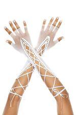 Long Blanc Mitaines Résille Ruban Lacet Gants Créateur Sexy Lingerie P433