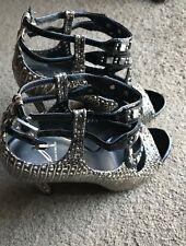 Brian Atwood Snake Skin Heel Strappy Sandal Shoe Sz 9