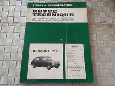 REVUE TECHNIQUE RENAULT 16 (1965 à1968)