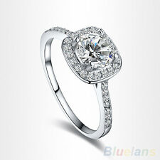 Women's Exclusive 9K White Gold Plated Crystal Engagement Wedding Jewelry Ring