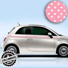 Kit Fasce Adesive Fiat 500 Laterali Pois Rosa Fashion Strisce Bonnet Decal Tunin
