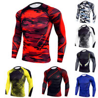 ❤ Men's Compression Armour Base Layer Top Long Sleeve Thermal Gym Slim Fit Shirt