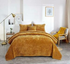 Tache Crushed Velvet Yellow Melted Gold Soft Plush Waves Bedspread Coverlet Set