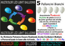 PALLONCINI LED LUMINOSI LUCE MULTICOLOR 5 Pz 10 Pollici FESTA PARTY DJ
