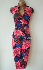 KAREN MILLEN ELEGANT RED BLUE FLORAL ORIENTAL STYLE PENCIL DRESS Size UK 8 EU 34