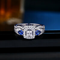 Wedding Engagement Ring Set For Women Princess White 925 Sterling Silver Cz 5-10