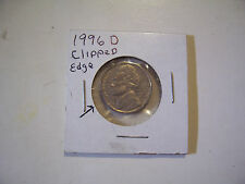 ERROR US COIN JEFFERSON NICKEL 1996 D  CLIPPED EDGE