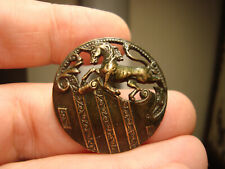 Antique brass tinted pierced Unicorn Mythological Beast design button