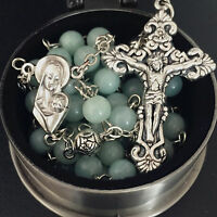 Amazonite &  Silver Rose Beads catholic rosary crucifix cross necklace box Gift