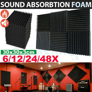 48Pcs Acoustic Panels Tiles Studio Sound Proofing Insulation Closed Cell Foam UK