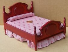 1:12 Scale Mahogany Coloured Double Bed Tumdee Dolls House Miniature DF285M