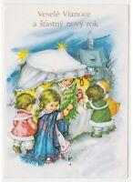 Niños Nieve Mercado por Navidad Abeto Juguetes Tarjeta Postal Navidad Vintage