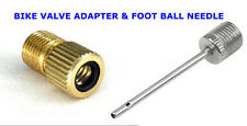 Bike Cycle Presta to Schrader Pump Valve Adaptor Air Foot Ball Needle Adaptor