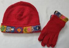 NEW, HIGH QUALITY, ALPACA BLENDED W/ SHEEP WOOL HAND KNITTED HAT + GLOVES CAP c