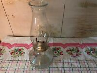 VINTAGE ANTIQUE BEAUTIFUL DECORTIVE GLASS KEROSENE LAMP GLOBE WICK INCLUDED