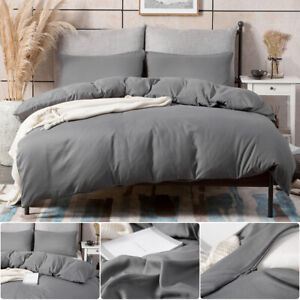 3PCS Duvet Quilt Cover Set With Pillowcase Bedding Set King Size Grey Plain Dyed