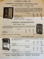 Leonard Cleanable ice box refrigerator advertising brochure  & postcard
