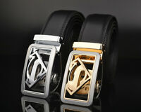 Luxury Men's Superman Automatic Buckle Belt Black Leather Ratchet Strap Jeans