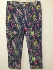 Girl Capri Legging Style Pants Size 14 Blue Splatter Pattern Justice Premium 208
