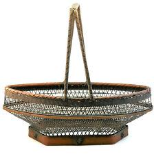 More details for c1887 hayakawa shokosai i, antique japanese woven bamboo and rattan fruit basket