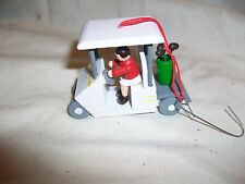 Vintage Wood Person Man Woman Driving Golf Cart Christmas Tree Ornament