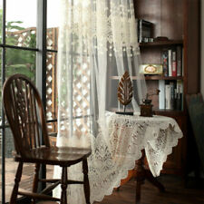Embroidery Crochet Net Curtain Lace Tulle Voile Window Panel Drape Divider Sheer