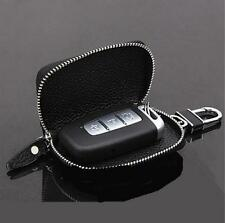 Universal Top Layer Leather Fashion Car Smart Remote Key Holder Bags Case Black