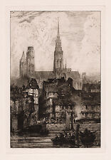 "Awesome 1800s Richard BONINGTON Etching ""Rouen from the River"" Framed SIGNED COA"
