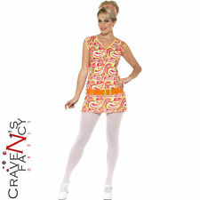Ladies 60s 70s Psychedelic Costume Hippy Hippie Womens Fancy Dress Outfit New