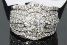 10K WHITE GOLD 1.94 TCW CENTER .25 CT DIAMOND ENGAGEMENT RING WEDDING BANDS SET
